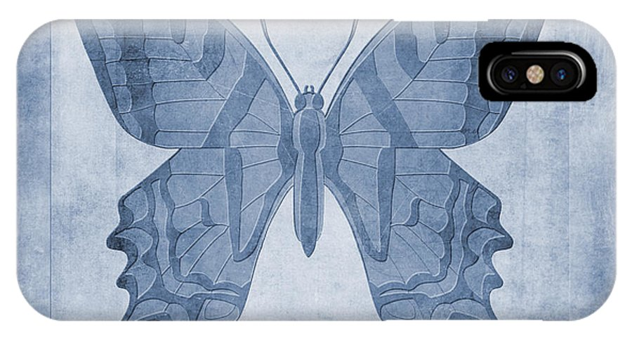 Lepidoptera Art IPhone X Case featuring the digital art Butterfly Textures Cyanotype by John Edwards