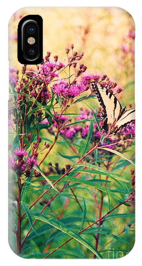 Floral IPhone X Case featuring the painting Butterfly Wildflower by Eric Schiabor
