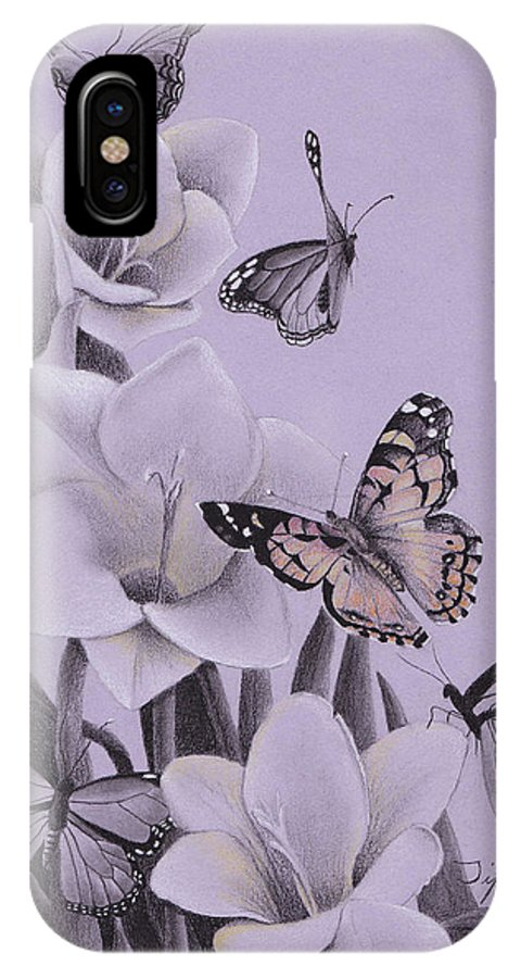 Butterflies IPhone X Case featuring the drawing Butterflies In A Field Of Freesias by Tiffany Gardiner