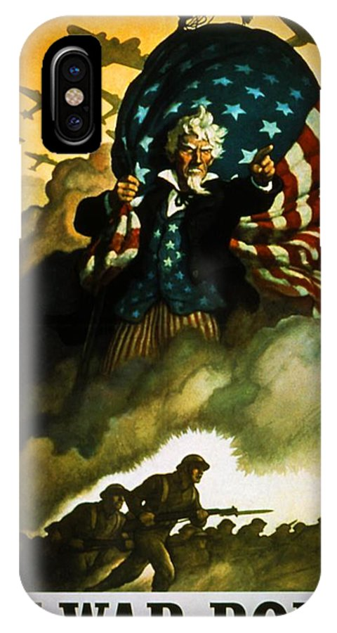 Uncle Sam IPhone X Case featuring the digital art Buy War Bonds by Bob Geary