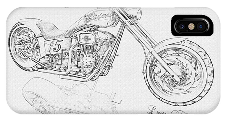 Pencil Drawing Motorcycle IPhone X Case featuring the digital art Bw Gator Motorcycle by Louis Ferreira