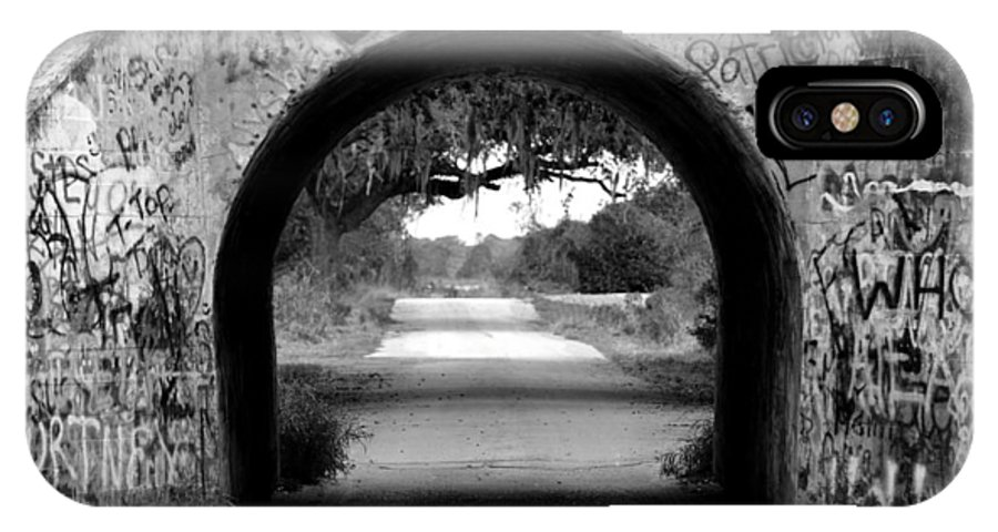 Black And White IPhone X Case featuring the photograph Bw Graffiti Tunnel by GK Hebert Photography