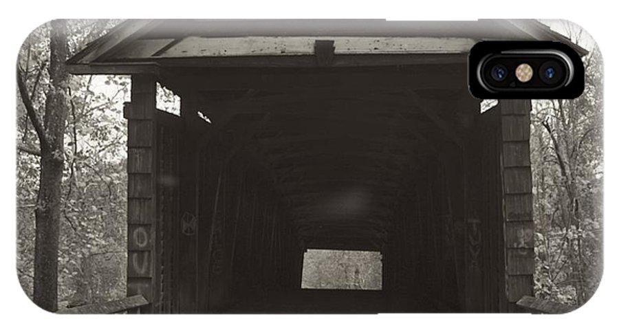 Black IPhone X Case featuring the photograph Bw Humpback Bridge Opening by Jennifer Lamanca Kaufman