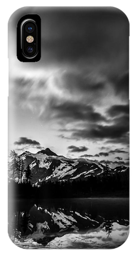 Picture Lake IPhone X Case featuring the photograph Bw Reflection by Bryan Hildebrandt