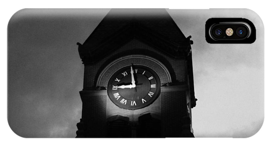 Clock Tower IPhone X Case featuring the mixed media Bw Tempest by Tim Anderson