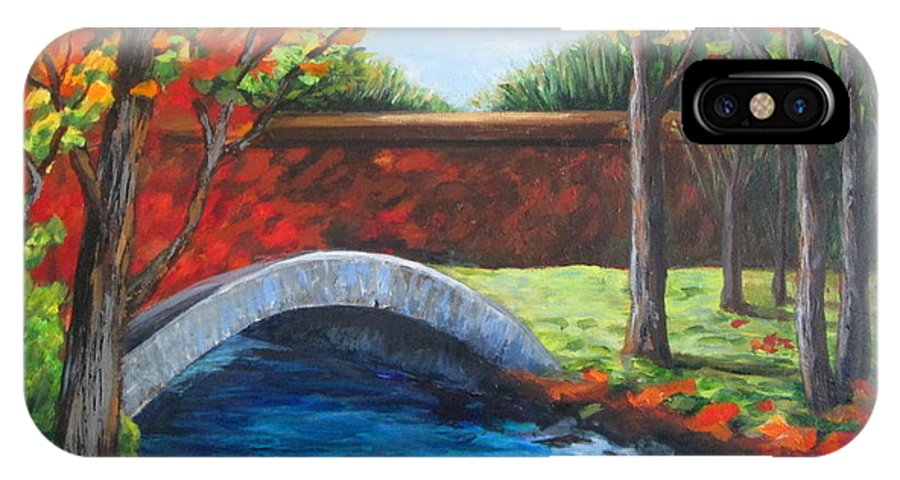 Landscape IPhone X Case featuring the painting By The Bridge by Rosie Sherman