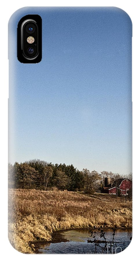 Old; Farm; Barn; Rural; Red; Fall; Landscape; Outside; Outdoors; Country; Countryside; Pond; Water; Sky; Weeds IPhone X Case featuring the photograph By The Pond by Margie Hurwich