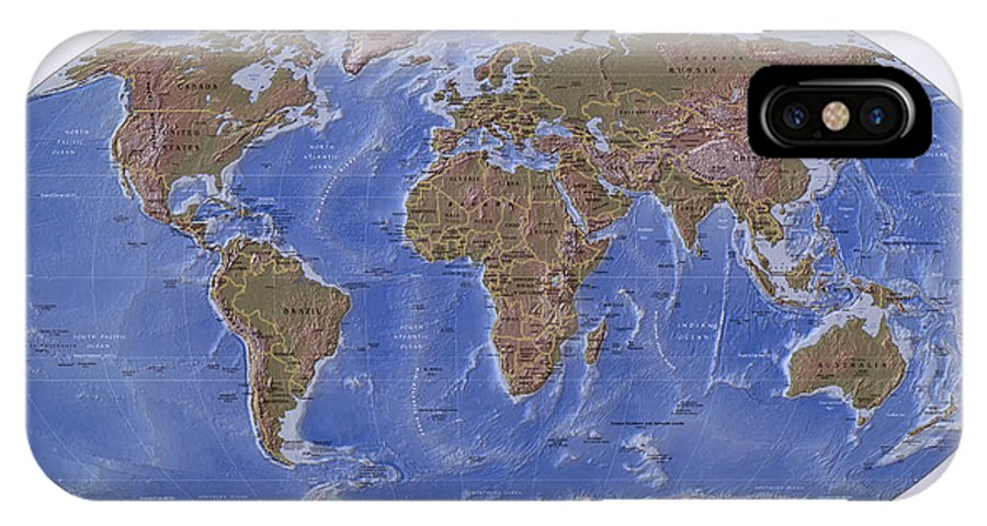 Map Of The World With Compass.C I A Physical Map Of The World Iphone X Case For Sale By Compass
