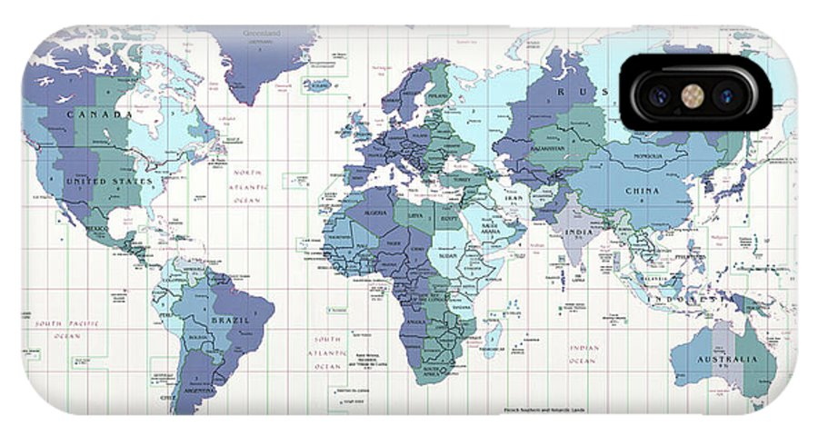 C I A World Map With Time Zones IPhone X Case