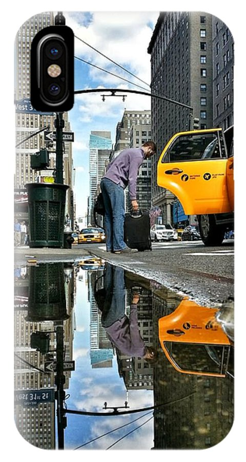 Reflection IPhone X Case featuring the photograph Cab To Where by Shmuli Evers