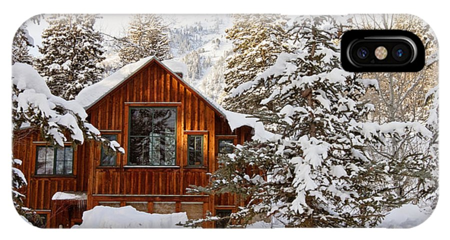 Snow IPhone X Case featuring the photograph Cabin In Snow by Scott Pellegrin