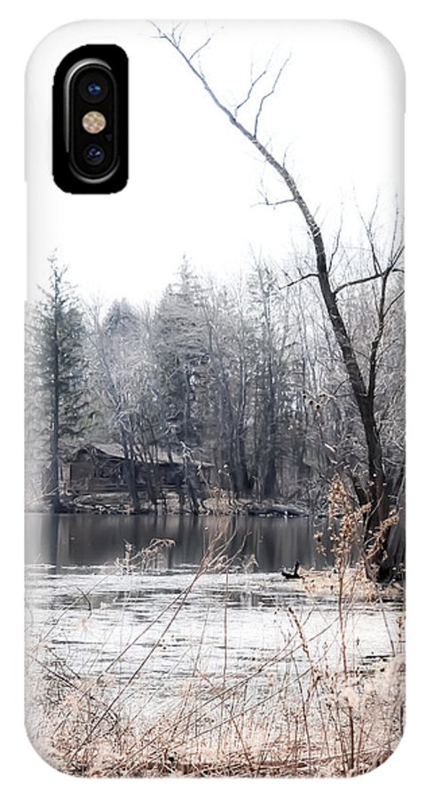 Water IPhone X Case featuring the photograph Cabin In The Woods by Julie Palencia