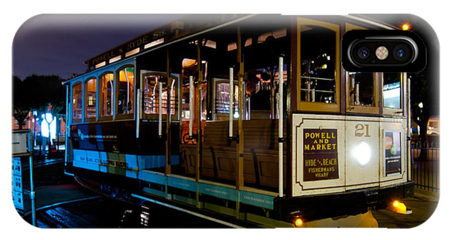 Night IPhone X Case featuring the photograph Cable Car At Night by Bradley Bennett