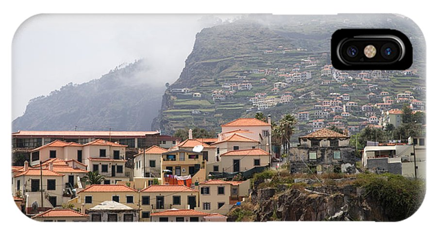 Horizontal Mist Misty Cable Car Outdoor Tourist Tours View Spectacular Vacation Holiday Atlantic Ocean Portuguese Sea Cliff Steep Escarpment Look Out Point Panoramic Coast Coastline Waves Exterior Landscape Mountains Rocks Mountainous Calm Water Summer Seashore Color Color Daytime Outdoor Nobody Houses Red Roofs Village Hillside Slope IPhone X Case featuring the photograph Cabo Girao Madeira Portugal by Jim Wallace