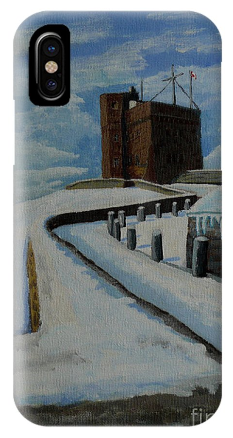 Landscape IPhone X Case featuring the painting Cabot Tower Newfoundland by Anthony Dunphy
