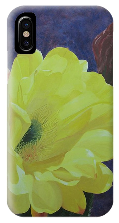 Argentine Cactus Bloom IPhone X Case featuring the painting Cactus Morning by Janis Mock-Jones