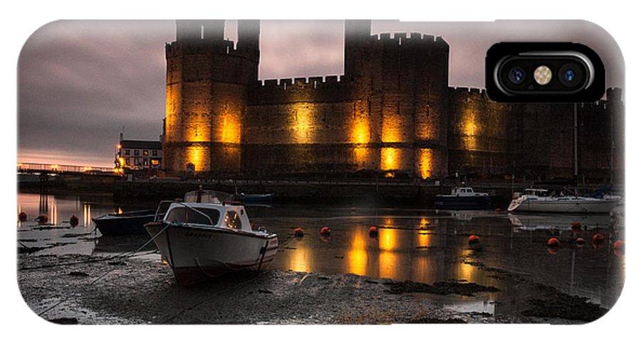 Caernarfon IPhone X Case featuring the photograph Caernarfon Castle Wales by Justin Cliffe LRPS