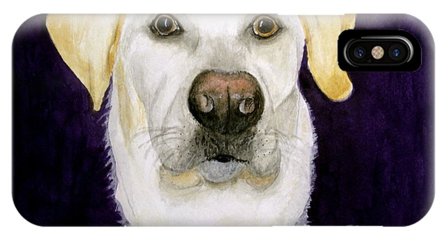 Dog IPhone X Case featuring the painting Caesar by Carol Grimes