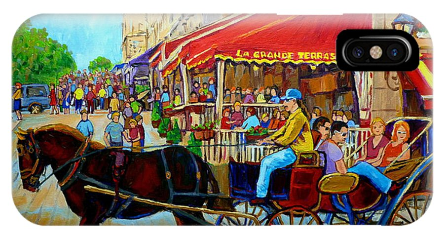 Cafe La Grande Terrasse IPhone X Case featuring the painting Cafe La Grande Terrasse by Carole Spandau