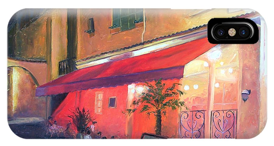 Cafe IPhone X Case featuring the painting Cafe Scene Cannes France by Jan Matson