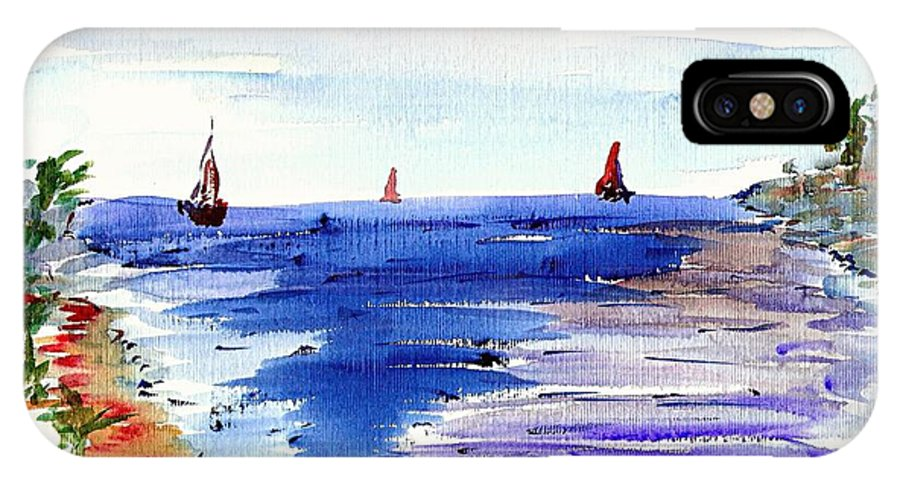 Sea IPhone X Case featuring the painting Cala Gran Majorca by Anthony Fox
