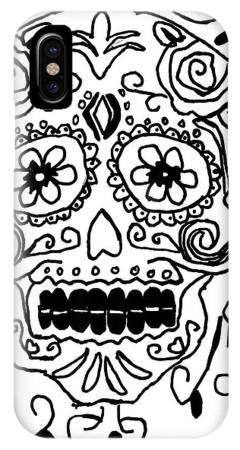 Dia De Los Muertos IPhone X Case featuring the painting Calavera by Epic Luis Art