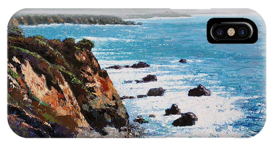 Ocean IPhone X Case featuring the painting California Coastline by John Lautermilch