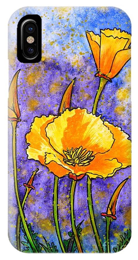 California Poppies IPhone X Case featuring the painting California Poppies by Zaira Dzhaubaeva