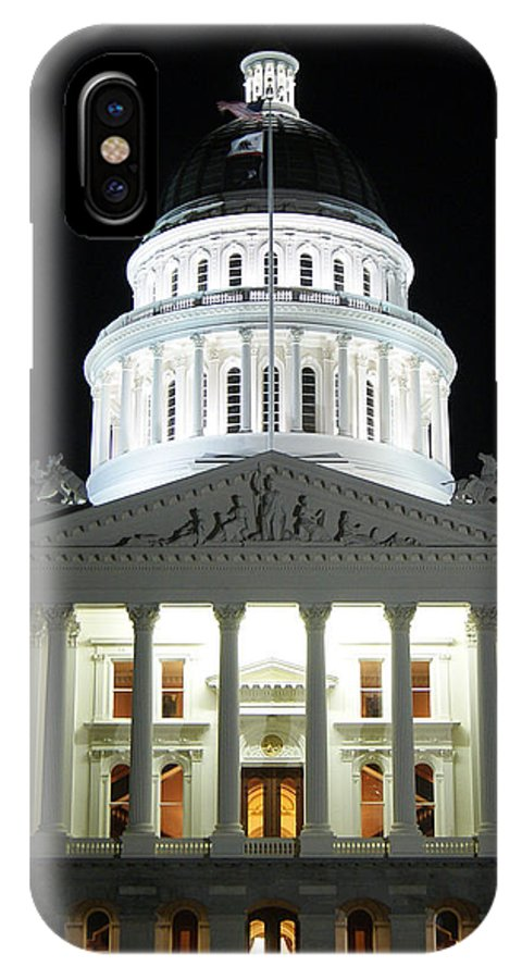 Capitol IPhone X Case featuring the photograph California State Capitol At Night by Steve Spurlin