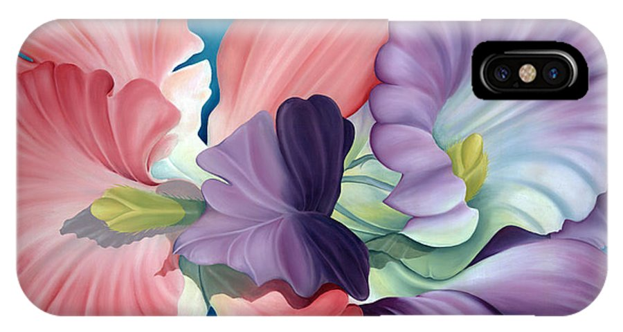 Surrealism IPhone X Case featuring the painting Call Of The Orchids by Rosemarie Morelli