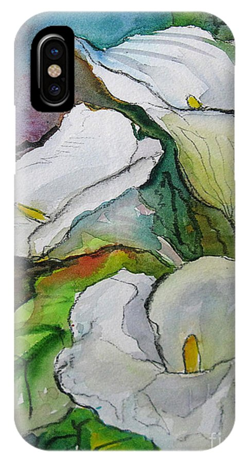 Watercolor IPhone X Case featuring the painting Calla Lilies by Gwen Nichols