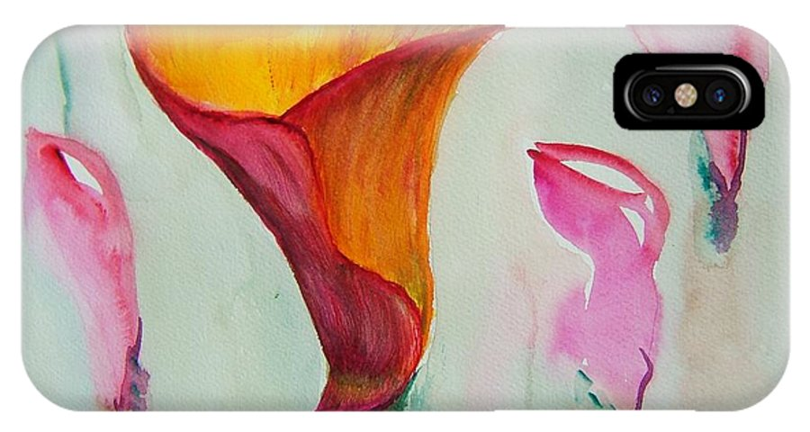 Calla Lilly IPhone X Case featuring the painting Calla Lilly by Elaine Duras