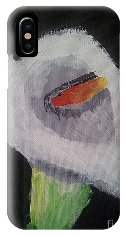 Flowers IPhone X Case featuring the painting Calla Lily by Epic Luis Art