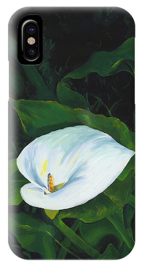 Calla Lily IPhone X Case featuring the painting Calla Lily In The Garden Of Diego And Frida by Judy Swerlick