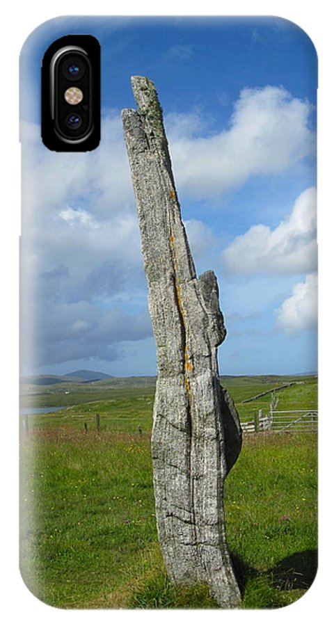 Callanish Inner Circle IPhone X Case featuring the photograph Callanish Avenue Stone by Denise Mazzocco
