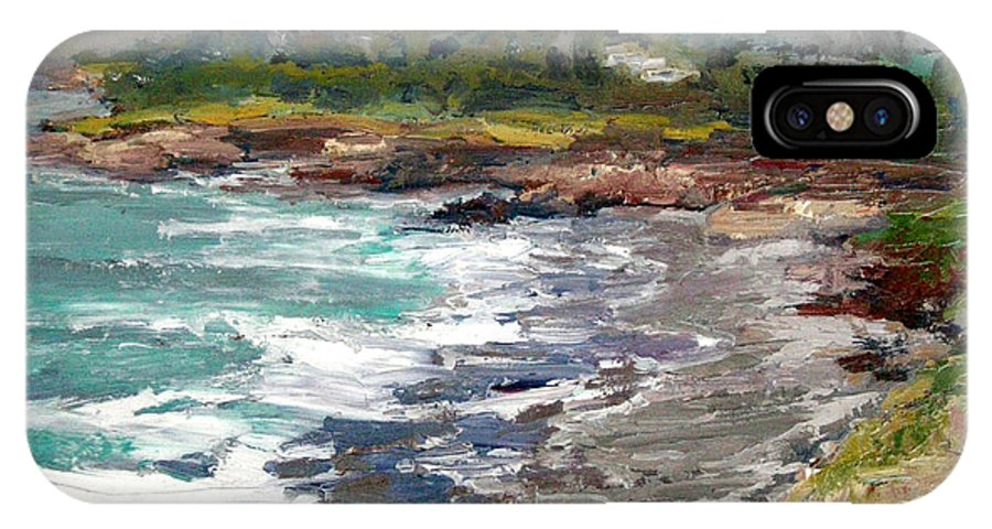 Sea-scape IPhone X Case featuring the painting Cambria Coast by Nancy LaMay