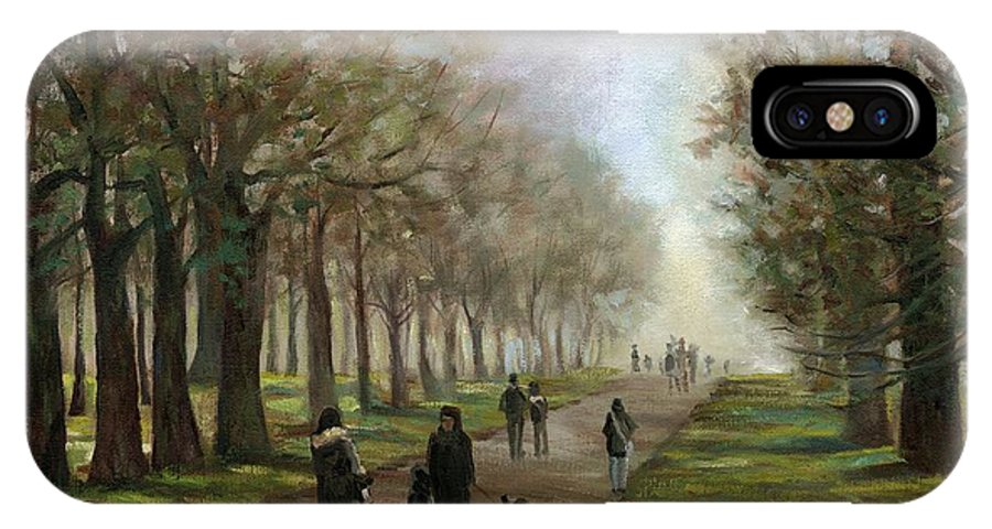 Park IPhone X Case featuring the painting A Walk In Hyde Park London by Linda Dunbar