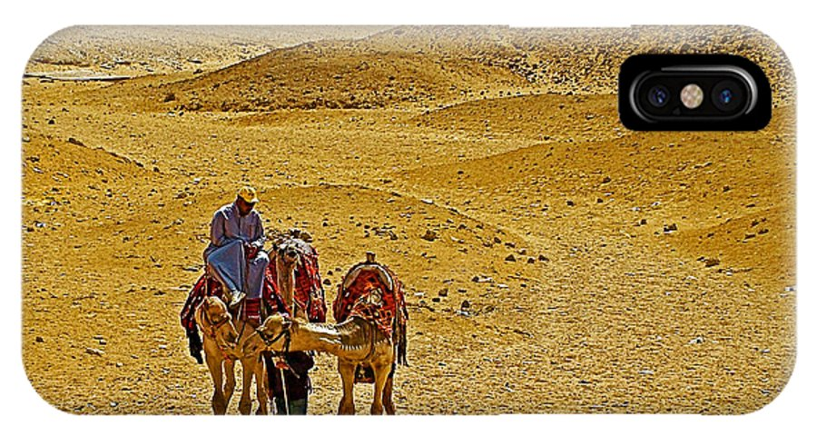 Camels Nuzzling On The Giza Plateau IPhone X / XS Case featuring the photograph Camels Nuzzling On The Giza Plateau-egypt by Ruth Hager
