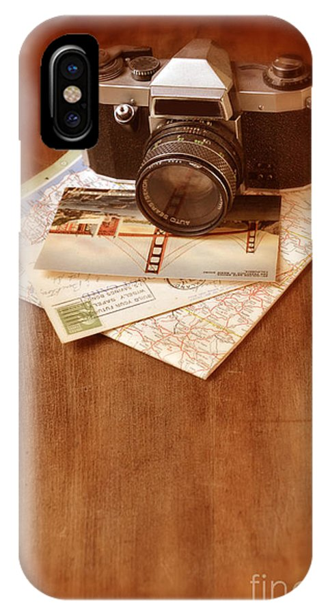 Camera IPhone X Case featuring the photograph Camera Map And Postcards by Jill Battaglia