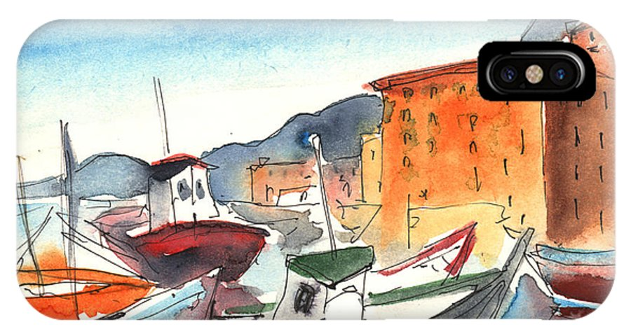 Italy IPhone X Case featuring the painting Camogli In Italy 02 by Miki De Goodaboom