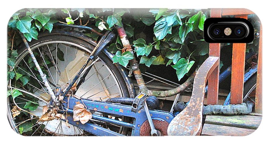 Bike Bench Ivy Plants Camouflage Hidden Rusty Amsterdam Dutch Netherlands IPhone X Case featuring the photograph Camouflage by Karen Weetman