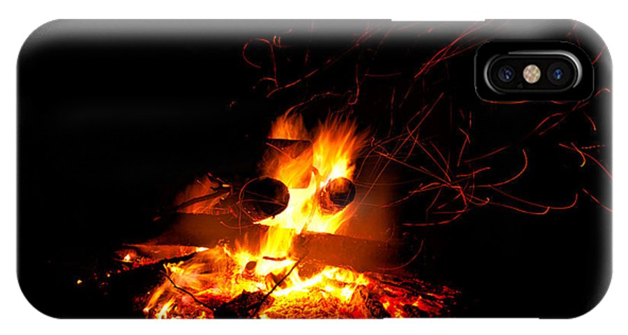 Abstract IPhone X / XS Case featuring the photograph Campfire As A Symbol Of Warmth And Life On Black by Stephan Pietzko
