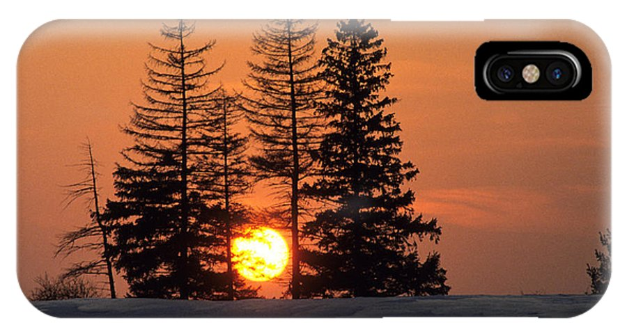 Fir Trees Snow Red Sky Evergreens Setting Sun Dusk Evening Gold Clouds Winter Landscape Scenic Scenery Picturesque Outline Delineate Silhouette Define Stand Out Form Shape Profile Inspiring Inspiration Inspirational Burlington Ontario Canada. IPhone X Case featuring the photograph Canadian Sunset by Jim Wallace
