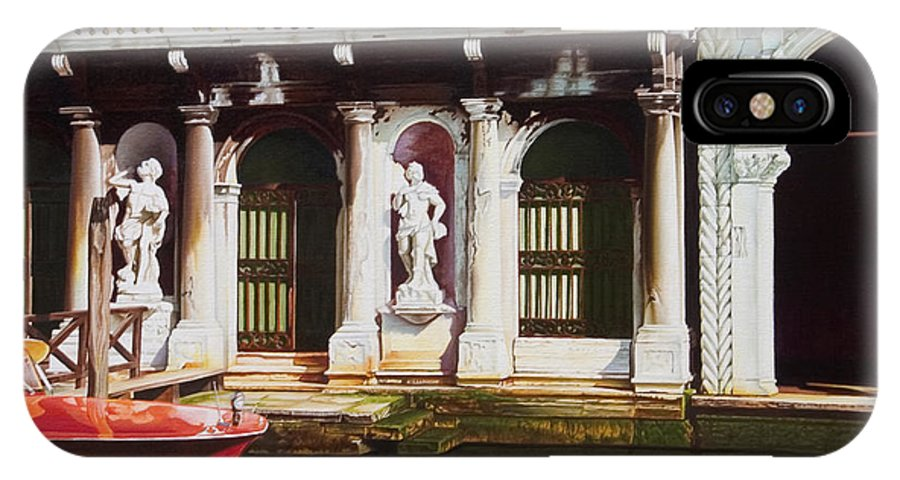Venice Canal IPhone Case featuring the painting Canal Scene Venice Italy by Gary Hernandez