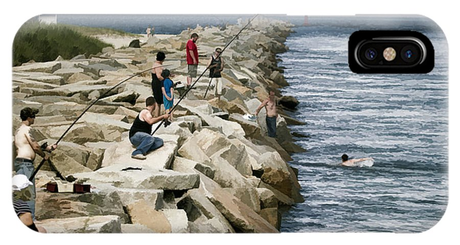 Canal IPhone X Case featuring the photograph Canal Swim Risky Behavior by Constantine Gregory