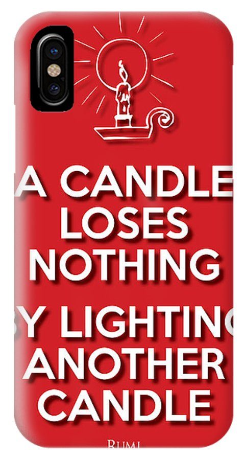 Life Message IPhone X Case featuring the digital art Candle Red by Splendid Notion Series
