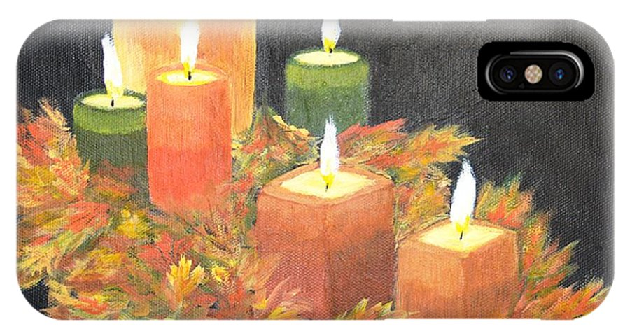 Candle IPhone X Case featuring the painting Candles In Autumn by Patricia Novack