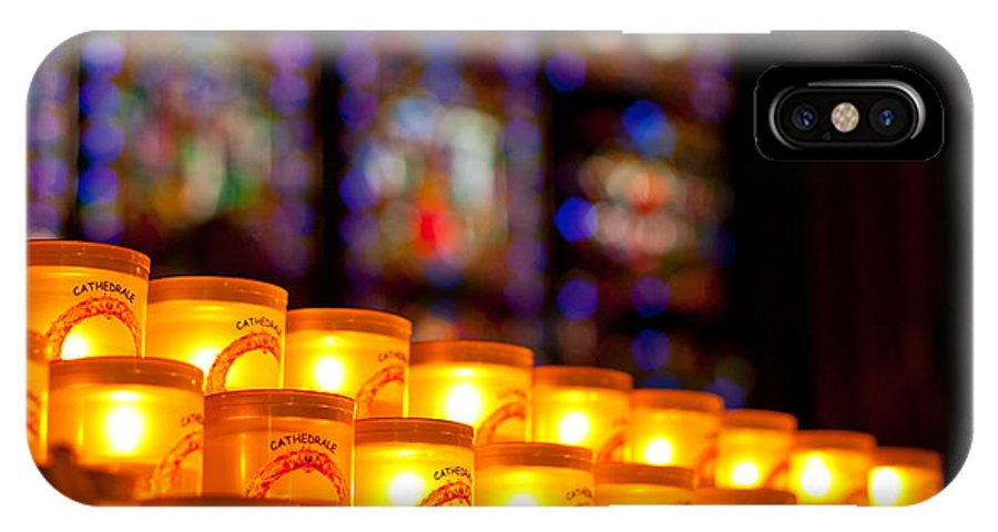 Notre Dame IPhone X Case featuring the photograph Candles In Notre Dame by Anthony Doudt