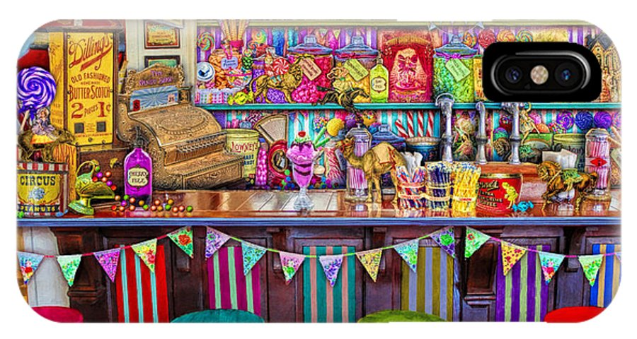 Sweets IPhone X Case featuring the digital art Candy Shop by MGL Meiklejohn Graphics Licensing