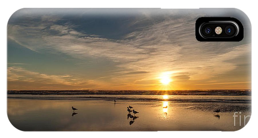 Haystack Rock IPhone X Case featuring the photograph Cannon Beach Sunset Tidal Flats by Mike Reid